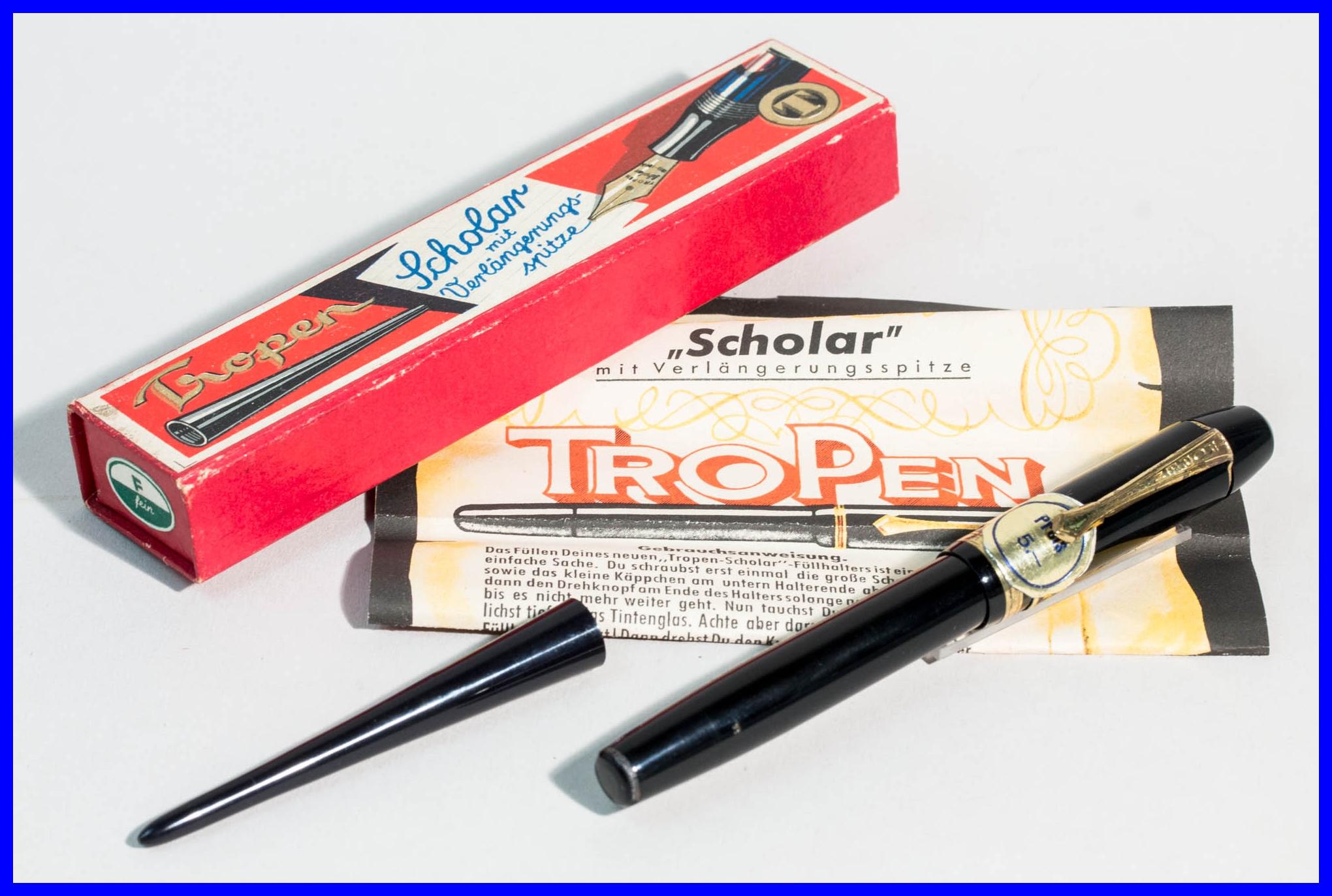 1950er Jahre Kolben Füller mit vergoldeter feine Feder Grau Marmoriert /& Schwarz